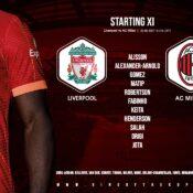 Liverpool team v AC Milan 15 September 2021