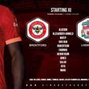 Liverpool team v Brentford 25 September 2021