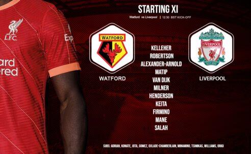 Liverpool team v Watford 16 October 2021