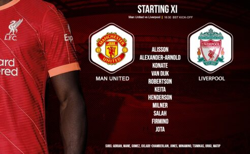 Liverpool team v Manchester United at Old Trafford 24 October 2021